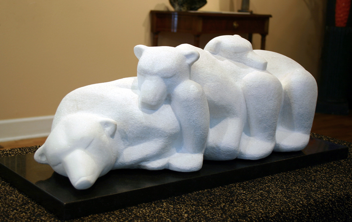 Three bears sculpture, right side