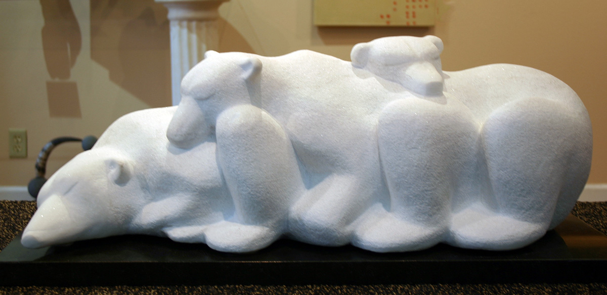 Three bears sculpture, front