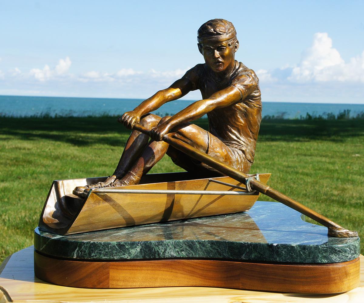 Rower sculpture, left side