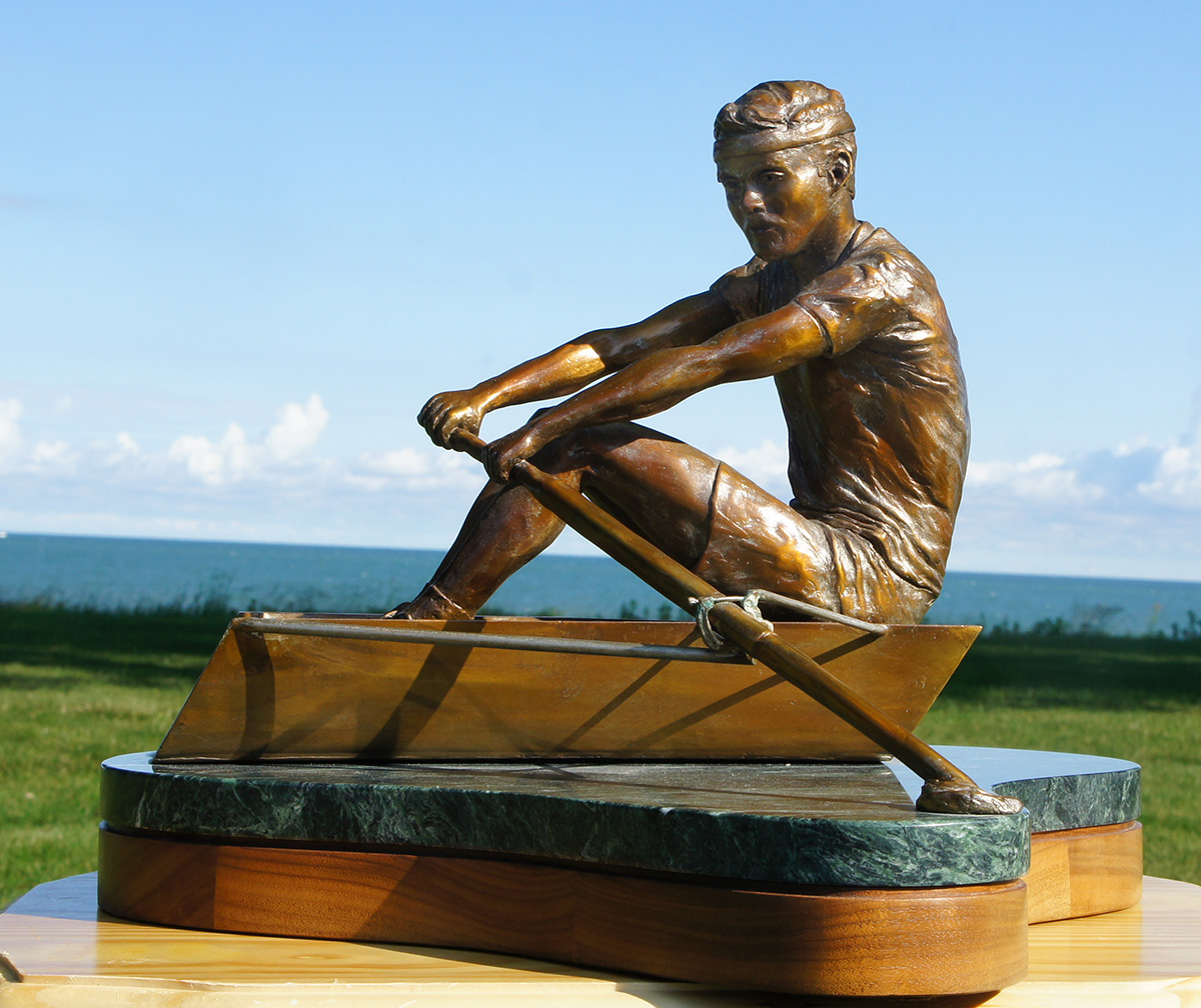 Rower sculpture, left side